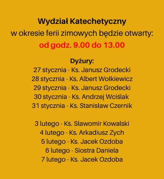 Wydział Katechetyczny w okresie ferii zimowych 2020